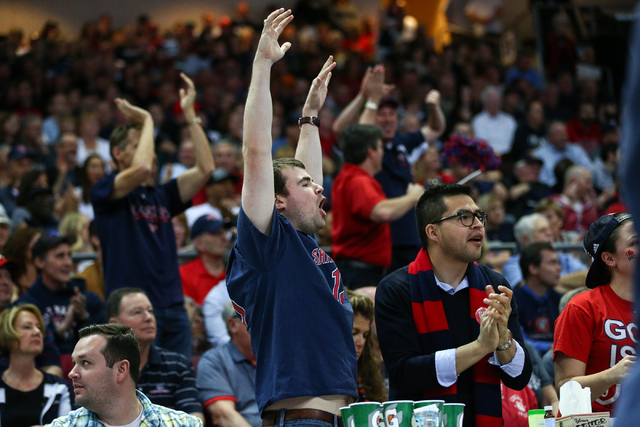 Saint Mary's fans cheer as their team takes on Gonzaga during the West Coast Conference basketball championship game at the Orleans Arena in Las Vegas on Tuesday, March 8, 2016. Chase Stevens/Las  ...