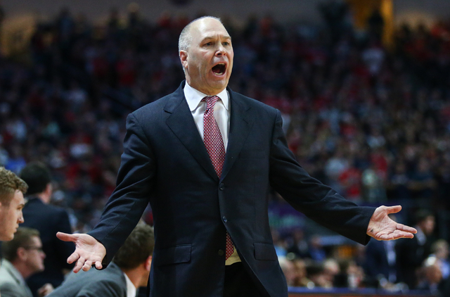 Saint Mary's head coach Randy Bennett reacts as his team plays Gonzaga during the West Coast Conference basketball championship game at the Orleans Arena in Las Vegas on Tuesday, March 8, 2016. Ch ...