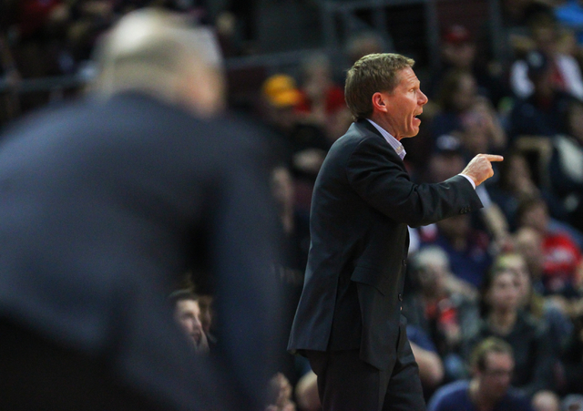 Gonzaga head coach Mark Few reacts as his team plays Saint Mary's during the West Coast Conference basketball championship game at the Orleans Arena in Las Vegas on Tuesday, March 8, 2016. Gonzaga ...