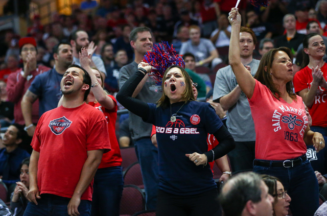 Saint Mary's fans cheer as their team plays Gonzaga during the West Coast Conference basketball championship game at the Orleans Arena in Las Vegas on Tuesday, March 8, 2016. Gonzaga won 85-75. Ch ...