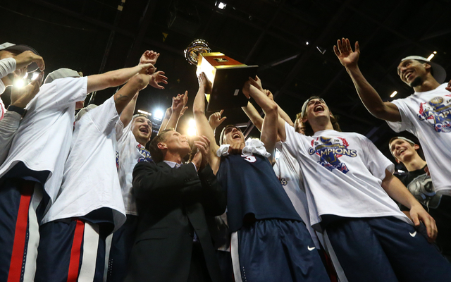 Gonzaga players celebrate their 85-75 win over Saint Mary's in the West Coast Conference basketball championship game at the Orleans Arena in Las Vegas on Tuesday, March 8, 2016. Chase Stevens/Las ...