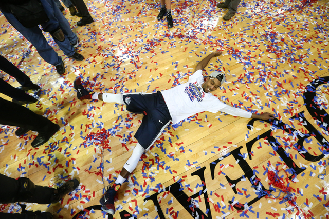 Gonzaga guard Eric McClellan (23) celebrates his team's 85-75 win over Saint Mary's in the West Coast Conference basketball championship game at the Orleans Arena in Las Vegas on Tuesday, March 8, ...