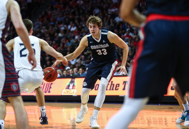 Gonzaga forward Kyle Wiltjer (33) drives against Saint Mary's during the West Coast Conference basketball championship game at the Orleans Arena in Las Vegas on Tuesday, March 8, 2016. Gonzaga won ...