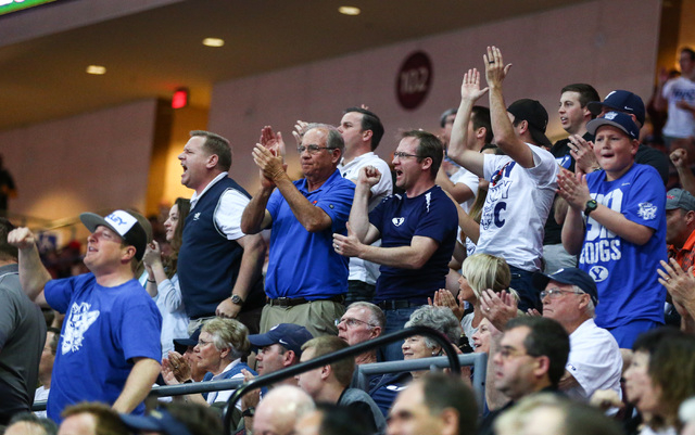Brigham Young fans cheer as their team plays Santa Clara during the West Coast Conference basketball tournament quarterfinals at the Orleans Arena in Las Vegas on Saturday, March 5, 2016. Brigham  ...