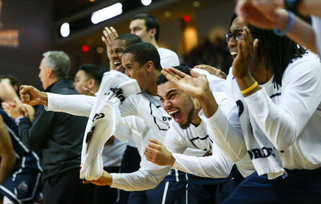 Loyola Marymount players cheer as their team plays Saint Mary's during the West Coast Conference basketball tournament quarterfinals at the Orleans Arena in Las Vegas on Saturday, March 5, 2016. C ...