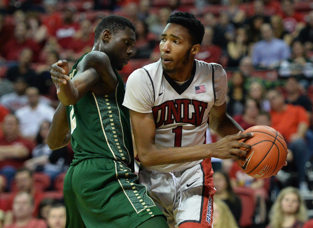 UNLV Rebels forward Derrick Jones Jr. (1) looks for an open teammate during a game against Colorado State at the Thomas & Mack Center in Las Vegas on Saturday, Feb. 13, 2016. (Brett Le Blanc/L ...