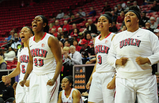 The UNLV bench reacts to a foul call in the fourth quarter of their NCAA basketball game against Air Force at the Thomas & Mack Center in Las Vegas Monday, March 7, 2016. UNLV defeated Air For ...