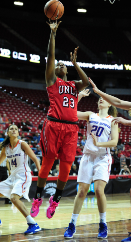 UNLV forward Jordyn Bell (23) goes up for a shot against Boise State in the second quarter of their Mountain West Conference quarterfinal basketball game at the Thomas & Mack Center in Las Veg ...