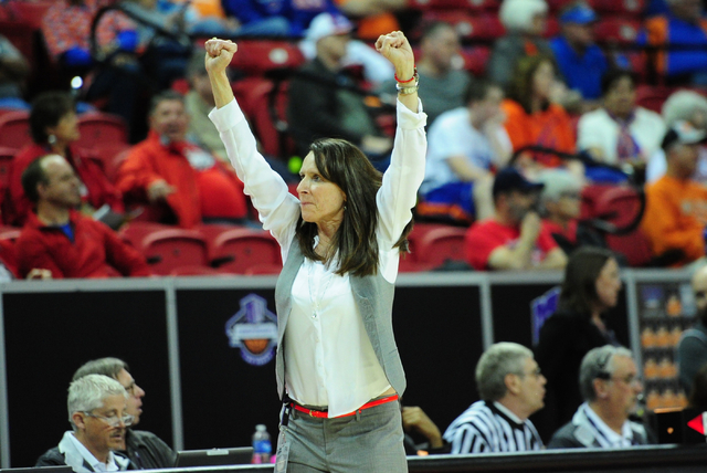 UNLV head coach Kathy Olivier celebrates their 71-65 upset win over Boise State guard during their Mountain West Conference quarterfinal basketball game at the Thomas & Mack Center in Las Vega ...