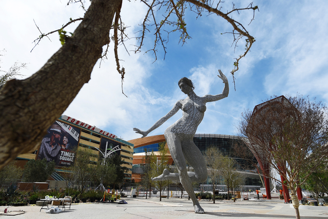 "Marco Cochrane's sculpture ""Bliss Dance"" is seen after being installed in MGM Resorts International's new dining and entertainment district, The Park, on March 4, 2016, in Las Vegas. The 40-foot t ..."