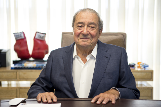 Bob Arum, founder and CEO of Top Rank boxing promotions, poses for a portrait inside his office at the Top Rank headquarters on Wednesday, March 23, 2016, in Las Vegas. Erik Verduzco/Las Vegas Rev ...