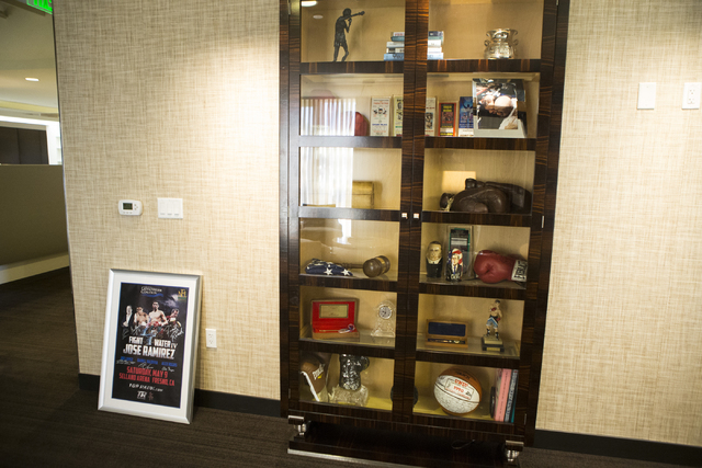 Sports memorabilia is seen inside the office of Bob Arum, founder and CEO of Top Rank boxing promotions, on Wednesday, March 23, 2016, in Las Vegas. Erik Verduzco/Las Vegas Review-Journal Follow @ ...