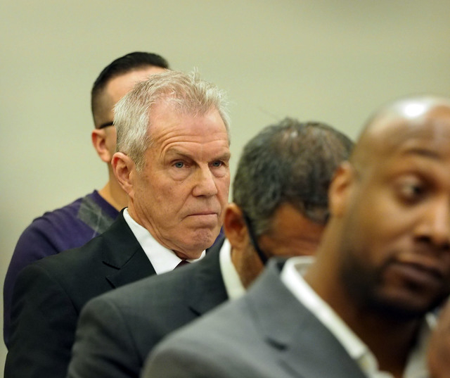Roy Englebrecht watches during a disciplinary hearing by the Nevada Athletic Commission concerning boxer Zab Judah and promoter Roy Englebrecht at the Sawyer State Office Building in Las Vegas, We ...