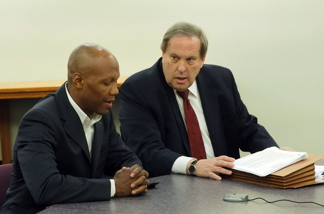 Boxer Zab Judah, left, and his attorney Jay Brown give testimony during a disciplinary hearing by the Nevada Athletic Commission concerning boxer Zab Judah and promoter Roy Englebrecht at the Sawy ...