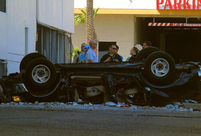 A pickup truck is shown after driving off the fifth floor of the Edgewater casino in Laughlin, Nev. on Wednesday, March 16, 2016. The male driver, the only occupant of the vehicle, was injured and ...
