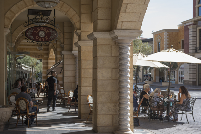 Patrons enjoy al fresco dining during the warm weather at Leone Cafe at Tivoli Village in Las Vegas on Friday, March 4, 2016. Fridayճ forecast is mostly sunny with a high of 79 and a low of  ...