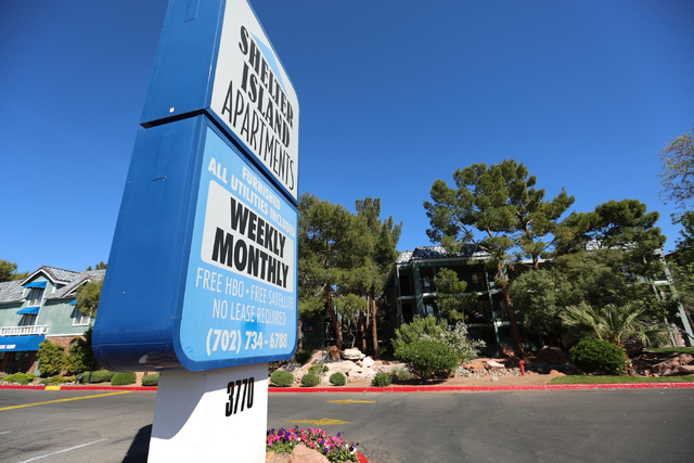 A man accused of breaking into a residence at Shelter Island Apartments was shot and killed at the complex, seen on Saturday, March 26, 2016 in Las Vegas. Brett Le Blanc/Las Vegas Review-Journal F ...