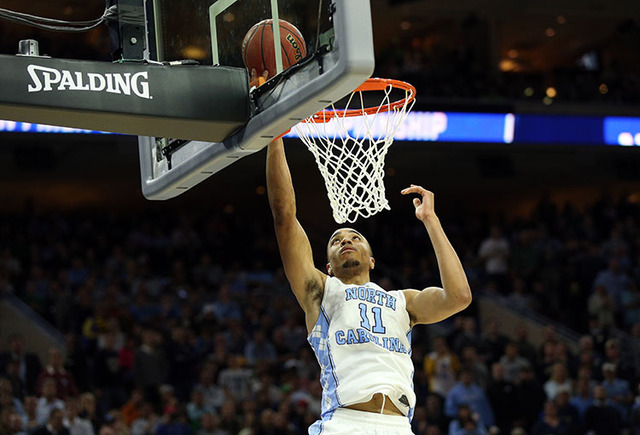 North Carolina Tar Heels forward Brice Johnson (11) shoots against the Notre Dame Fighting Irish during the second half in the championship game in the East regional of the NCAA Tournament at Well ...