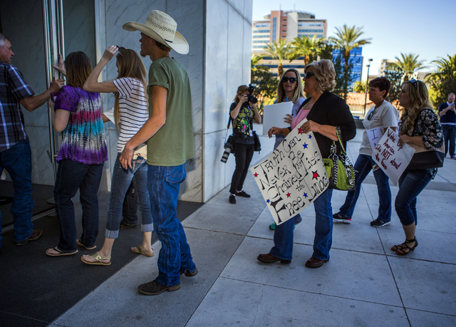 Family and supporters or rancher Cliven Bundy enter Lloyd George United States Courthouse on Thursday, March 10, 2016.Jeff Scheid/Las Vegas Review-Journal Follow @jlscheid