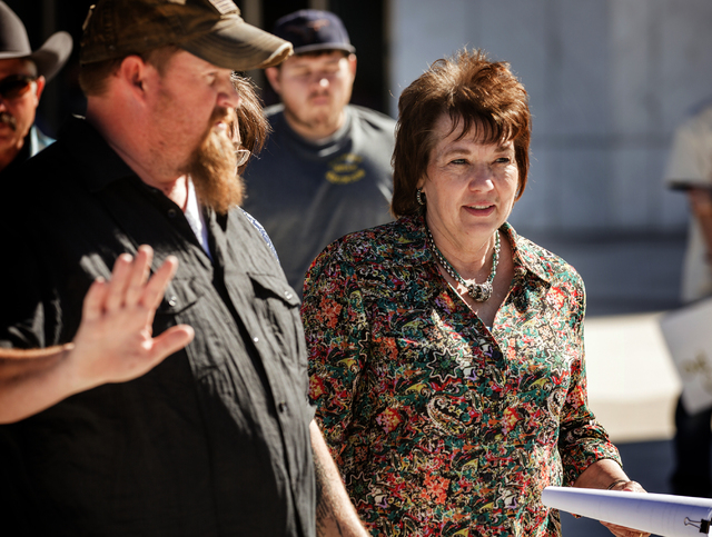 Carol Bundy exits Lloyd George United States Courthouse after a hearing for her husband Cliven on Thursday, March 10, 2016.Jeff Scheid/Las Vegas Review-Journal Follow @jlscheid