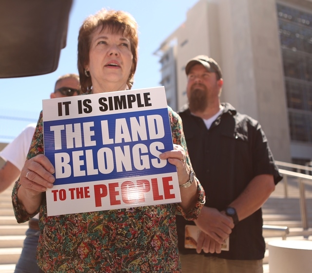 Carol Bundy, wife of Cliven Bundy, demonstrates outside the Lloyd George Federal Building on Thursday, March 10, 2016, in Las Vegas. (Jeff Scheid/Las Vegas Review-Journal)