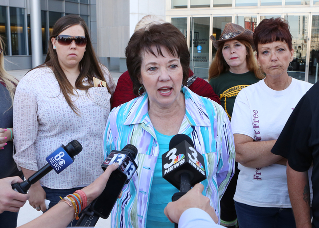 Carol Bundy, wife of Nevada rancher Cliven Bundy, addresses the media after attending her husband Bundy's brief detention hearing at Lloyd George Federal Building on Thursday, March 17, 2016, in L ...
