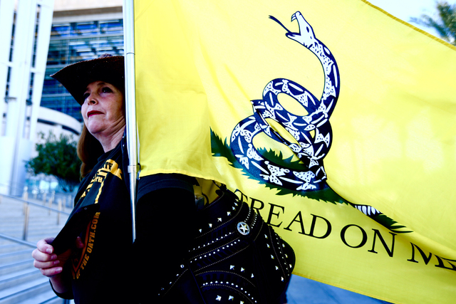 Kim Harris from Orange County California demonstrates in front of the Lloyd George Federal Building on March 10, 2016 in Las Vegas. (Jeff Scheid/Las Vegas Review-Journal)