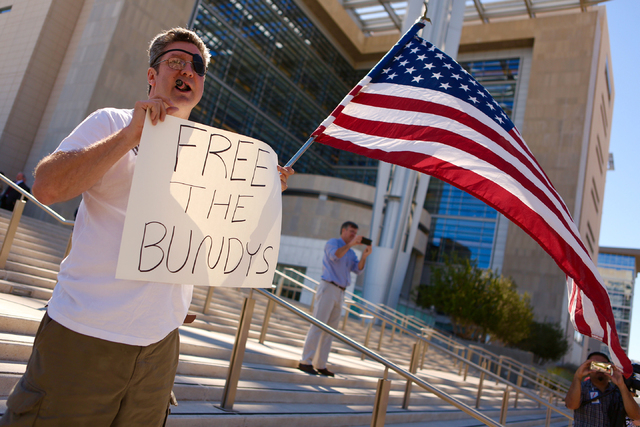 Greg Whalen demonstrates in front of Lloyd George Federal Building on March 10, 2016, in Las Vegas. (Jeff Scheid/Las Vegas Review-Journal)