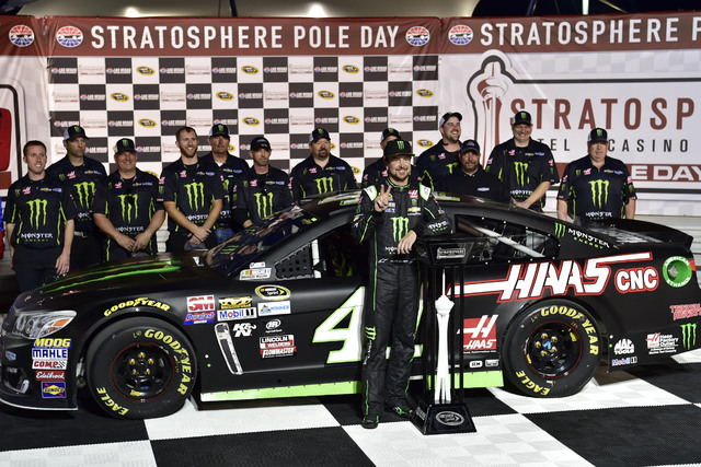 NASCAR Sprint Cup Series driver Kurt Busch celebrates after winning the pole for the Kobalt 400 at Las Vegas Motor Speedway in Las Vegas Friday, March. 4, 2016. (Josh Holmberg/Las Vegas Review-Jou ...