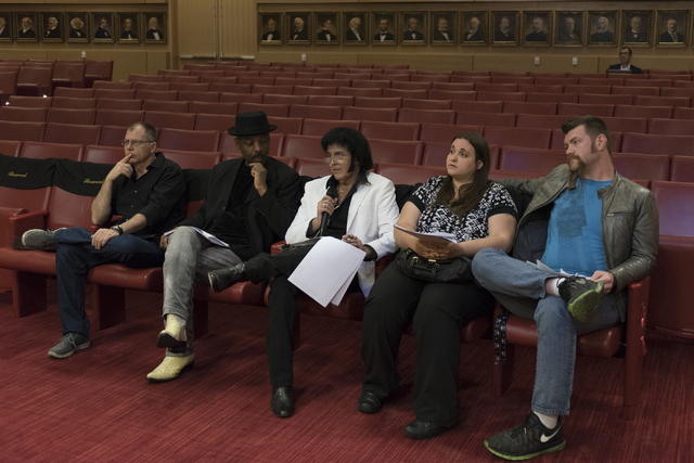 Chris Johnson, center, speaks with Las Vegas officials during a meeting to discuss new rules for performers during a meeting at Las Vegas City Hall Council Chambers Thursday, March 10, 2016. Fello ...