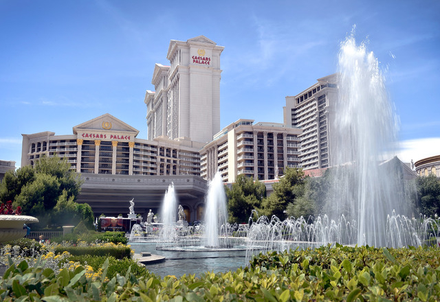 Caesars Palace hotel-casino with it fountains is seen on Tuesday, May 12, 2015, in Las Vegas. (David Becker/Las Vegas Review-Journal)