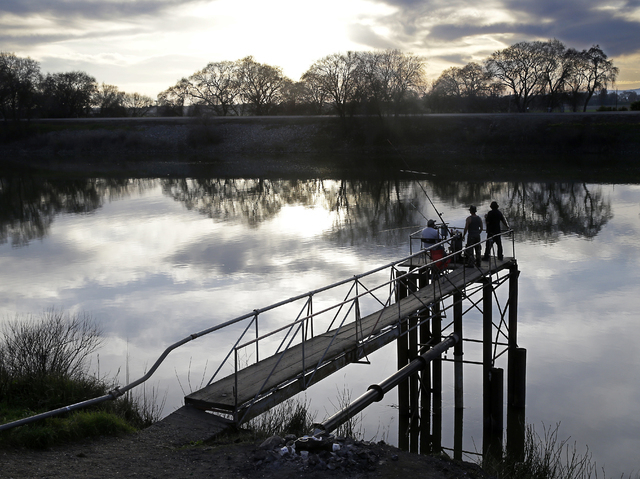 People try to catch fish along the Sacramento River in the San Joaquin-Sacramento River Delta near Courtland, Calif., on Feb. 23, 2016. (AP Photo/Rich Pedroncelli)