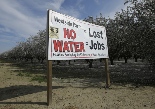 A sign calling attention to the loss of jobs blamed on the lack of water is displayed near Lemoore, Calif., on Feb. 25, 2016.  (AP Photo/Rich Pedroncelli)