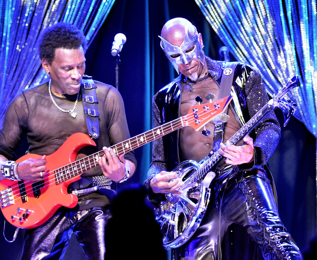 Aaron Mills, left, and Charlie Singleton of Cameo perform at the Westgate Las Vegas hotel-casino at 3000 Paradise Road on Thursday, March 10, 2016. Bill Hughes/Las Vegas Review-Journal