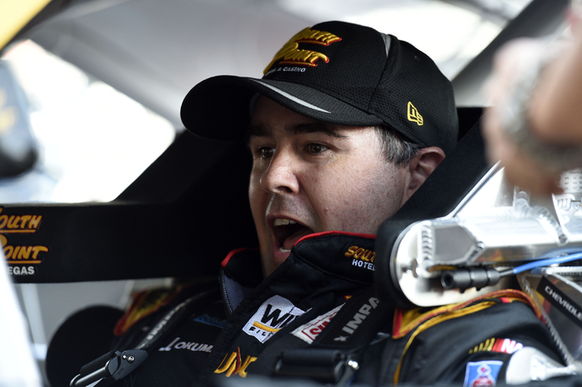 Brendan Gaughan talks from inside the No. 62 South Point Chevy at Las Vegas Motor Speedway in Las Vegas Friday, March. 4, 2016. (Josh Holmberg/Las Vegas Review-Journal )