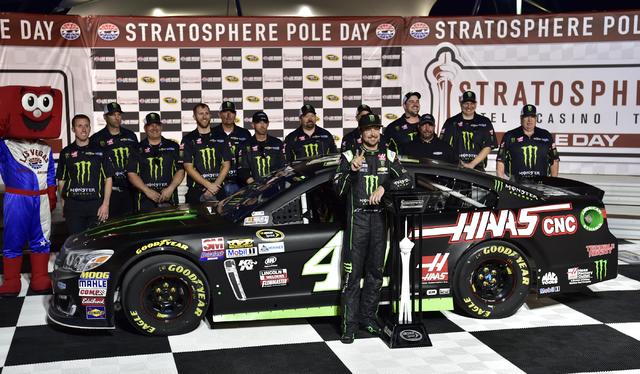 NASCAR Sprint Cup Series driver Kurt Busch celebrates after winning the pole for the Kobalt 400 at Las Vegas Motor Speedway in Las Vegas Friday, March. 4, 2016. Josh Holmberg/Las Vegas Review-Journal