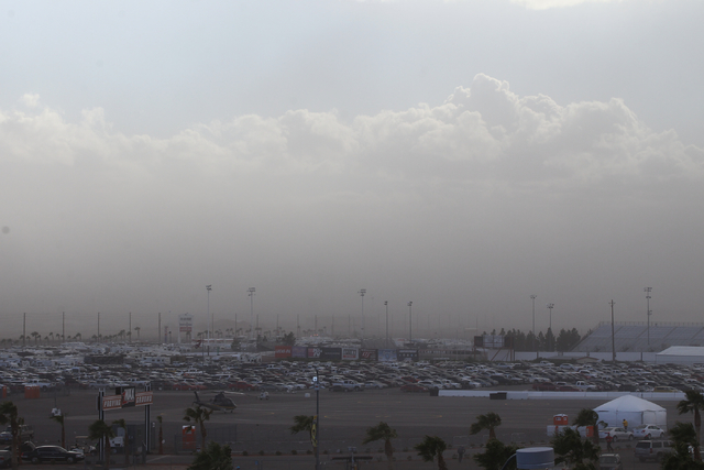 A storm approaches Las Vegas Motor Speedway as the NASCAR Kobalt 400 runs on Sunday, March 6, 2016. Weather delays have slowed the race. Chase Stevens/Las Vegas Review-Journal Follow @CSStevensphoto