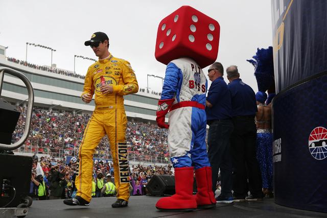 Joey Logano (22) is introduced before the NASCAR Sprint Cup Series Kobalt 400 race at the Las Vegas Motor Speedway in Las Vegas on Sunday, March 6, 2016, in Las Vegas. Erik Verduzco/Las Vegas Revi ...