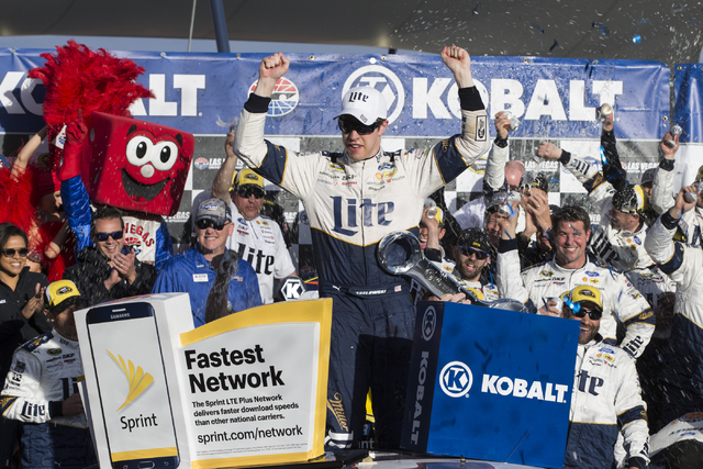 Brad Keselowski celebrates his victory in the NASCAR Sprint Cup Series Kobalt 400 race at the Las Vegas Motor Speedway in Las Vegas on Sunday, March 6, 2016, in Las Vegas. Erik Verduzco/Las Vegas  ...