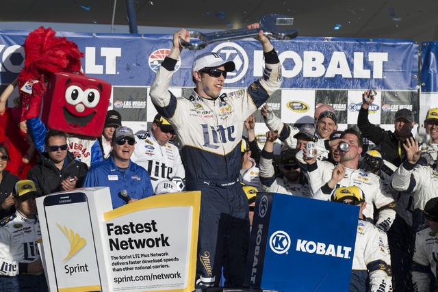 Brad Keselowski celebrates his victory in the NASCAR Sprint Cup Series Kobalt 400 race at the Las Vegas Motor Speedway in Las Vegas on Sunday, March 6, 2016, in Las Vegas. Erik Verduzco/Las Vegas  ...