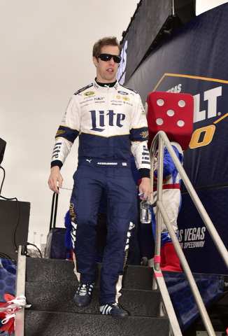Brad Keselowski (2) is seen during driver introductions before the start of the Kobalt 400 at Las Vegas Motor Speedway in Las Vegas Sunday, March 6, 2016. Josh Holmberg/Las Vegas Review-Journal