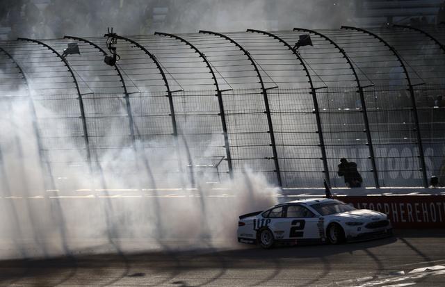 Brad Keselowski (2) performs a burnout after winning the Kobalt 400 at Las Vegas Motor Speedway in Las Vegas Sunday, March 6, 2016. Josh Holmberg/Las Vegas Review-Journal