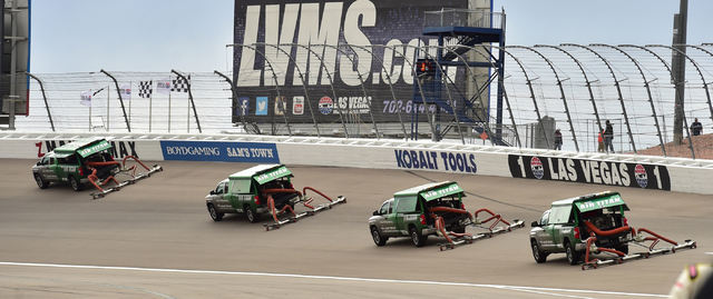 Track dryers are seen during a rain delay before the start of the Kobalt 400 at Las Vegas Motor Speedway in Las Vegas Sunday, March 6, 2016. Josh Holmberg/Las Vegas Review-Journal