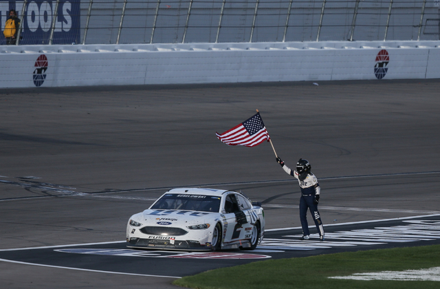 Brad Keselowski (2) celebrates his win of the NASCAR Sprint Cup Series Kobalt 400 race at the Las Vegas Motor Speedway in Las Vegas on Sunday, March 6, 2016. Chase Stevens/Las Vegas Review-Journal ...