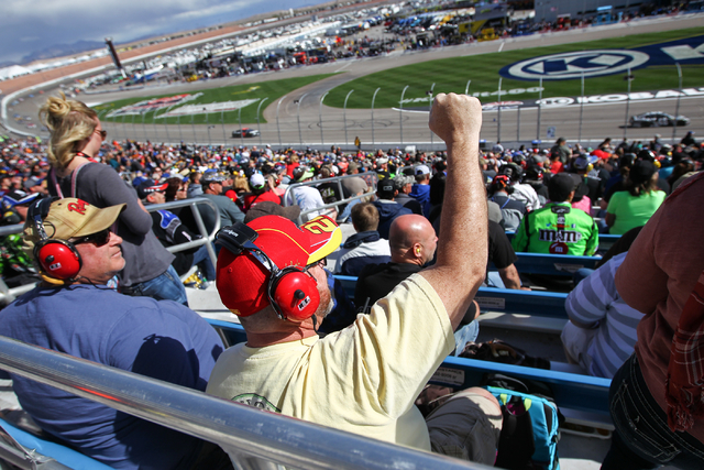 A Joey Logano fan cheers during the NASCAR Sprint Cup Series Kobalt 400 race at the Las Vegas Motor Speedway in Las Vegas on Sunday, March 6, 2016. Chase Stevens/Las Vegas Review-Journal Follow @c ...