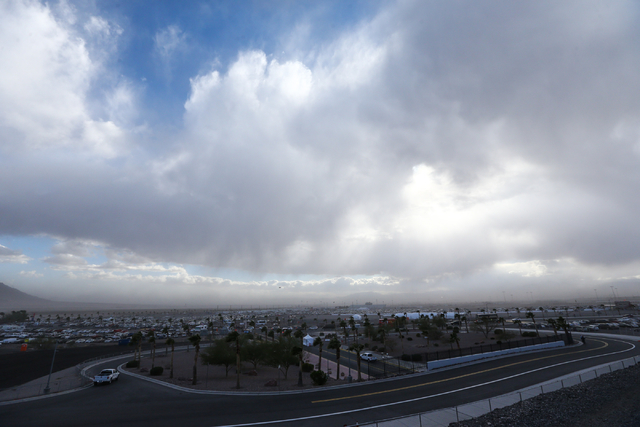 Dust and clouds cover the Las Vegas Valley during the NASCAR Sprint Cup Series Kobalt 400 race at the Las Vegas Motor Speedway on Sunday, March 6, 2016. Chase Stevens/Las Vegas Review-Journal Foll ...