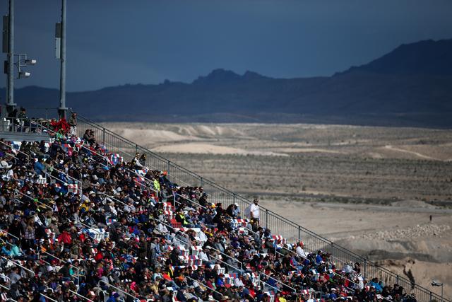 Fans watch the NASCAR Sprint Cup Series Kobalt 400 race at the Las Vegas Motor Speedway in Las Vegas on Sunday, March 6, 2016. Chase Stevens/Las Vegas Review-Journal Follow @csstevensphoto