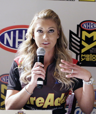 NHRA Top Fuel driver Leah Pritchett, speaks during the NHRA Mello Yello Drag Racing Series official event press conference at The Palm Restaurant at Caesar Palace hotel-casino on Thursday, March 3 ...