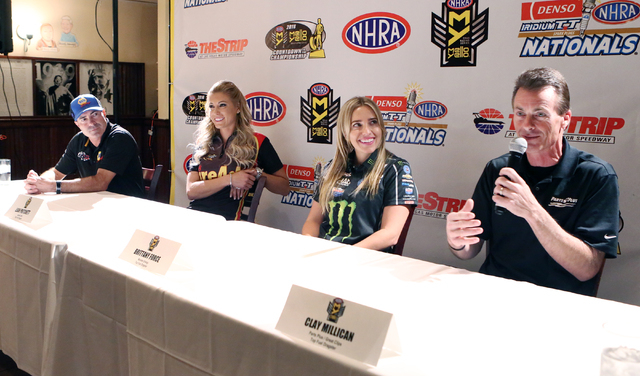 NHRA Veteran Top Fuel driver Clay Millican, right, speaks as Funny Car driver Ron Capps, left, Top Fuel driver Leah Pritchett, second left, and Top Fuel driver Brittany Force, second right, look o ...