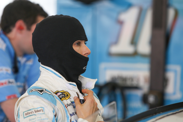 Danica Patrick dons a hood sock as she prepares to take her #10 Chevrolet SS onto the track during Sprint Cup testing on Thursday, Mar. 3, 2016 at Las Vegas Motor Speedway. Brett Le Blanc/Las Vega ...